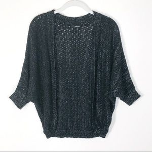 Maurices cardigan black w silver thread open weave